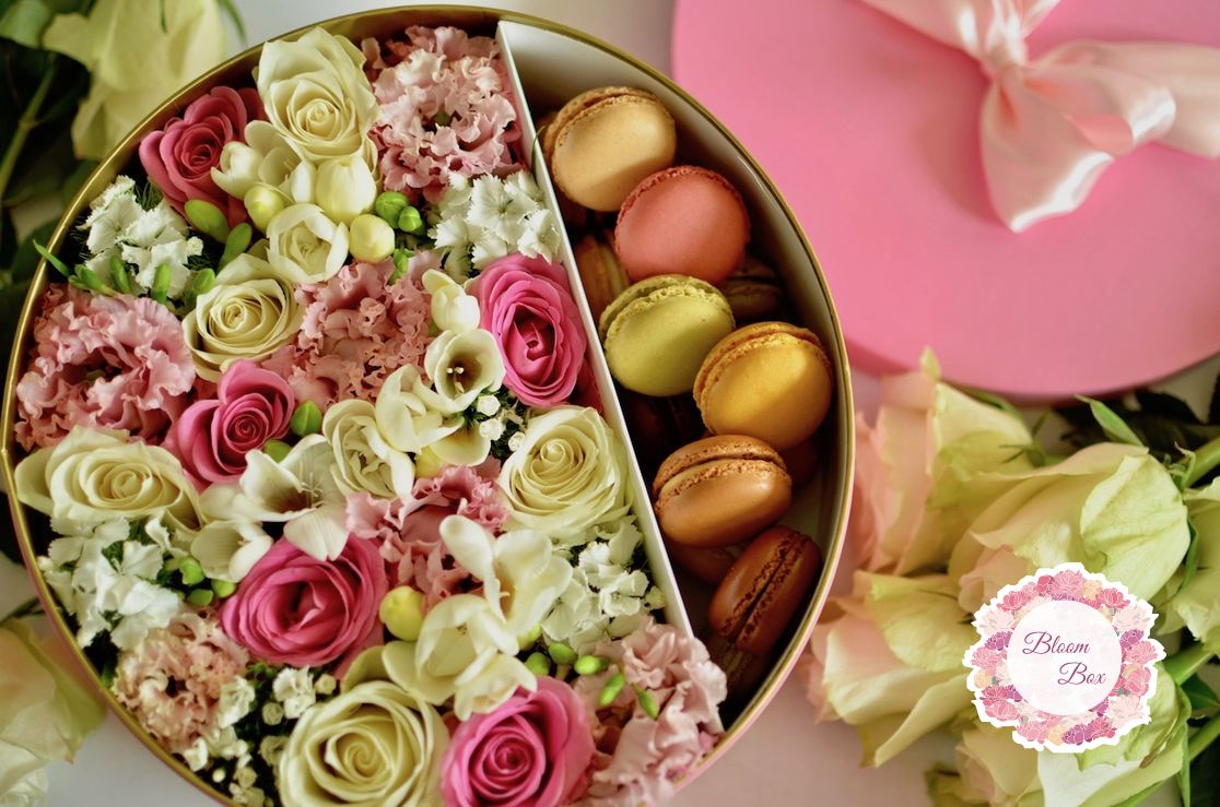 Gift Boxes With Fresh Flowers And Chocolate